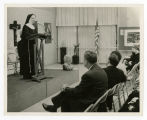Photograph of Sister M. Stephanie, S.B.S. Speaking at Event