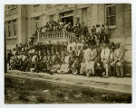 Men and Boys in Front of Corpus Christi Elementary School - New Orleans, Louisiana