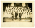 Group Photo of Dining Room Waitresses and Booker T. Washington at Tuskegee Institute