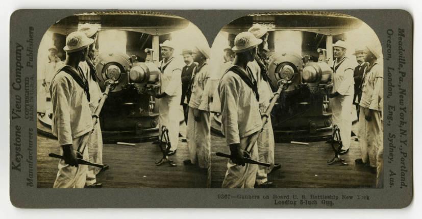 Gunners on Board U S  Battleship New York Loading 5-inch Gun - World
